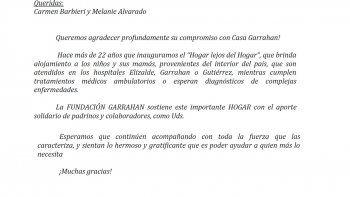 La fundación Garrahan agradece la donación de Carmen Barbieri