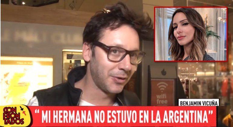 Benjamín Vicuña salió a contradecir a Pampita: Mi hermana no estuvo en Argentina