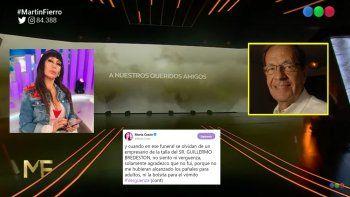 La ausencia de Guillermo Bredeston en los homenajes a los fallecidos en el Martín Fierro desató la furia de Moria Casán