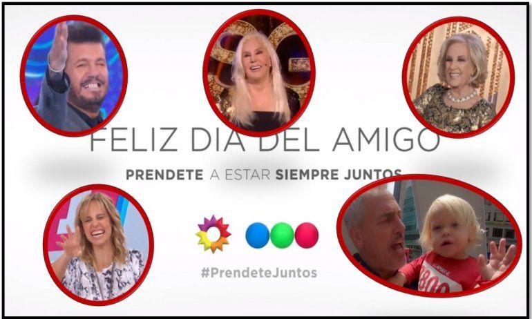 Los avisos cruzados por el día del amigo en la tele: El trece y Telefe muestran a las figuras de la competencia en sus pantallas