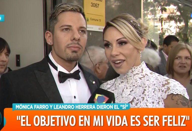 Dieron el sí: Mónica Farro y Leandro, su personal trainner, se casaron el viernes