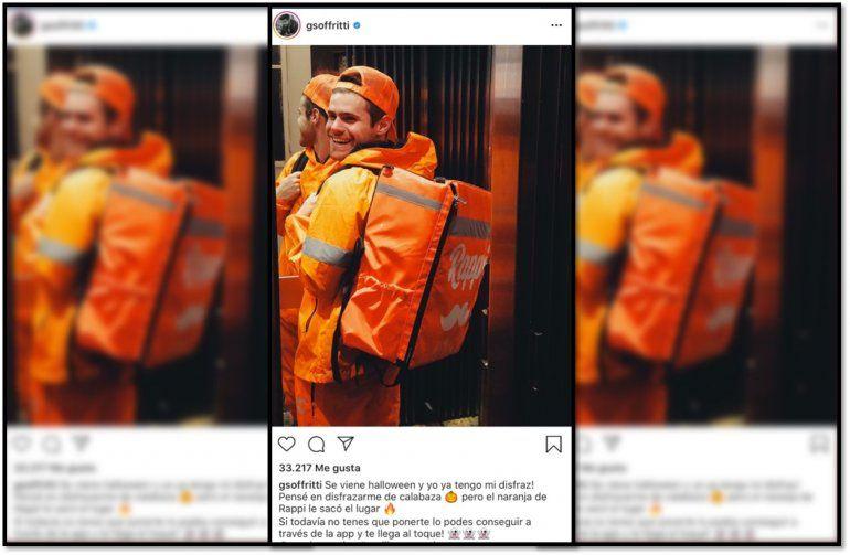 Gastón Soffritti se quiso hacer el vivo y se disfrazó de repartidor, pero la pifió y tuvo que borrar la foto