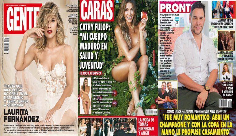 Laurita Fernández mamá, Cathy Fulop desnuda a los 54 y el casamiento de Rodrigo Lussich son tapa de revista