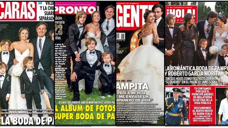 La boda de Pampita y García Moritán es tapa de todas las revistas