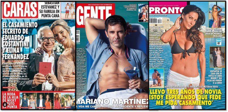 Las fotos secretas del casamiento de Costantini y las tapas de revistas de la semana