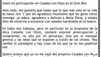 Érica Rivas habló de su salida de Casados con hijos: Yo no me bajé