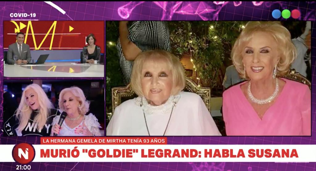 El llanto de Susana Giménez al contar cómo Mirtha Legrand le informó la muerte de Goldie