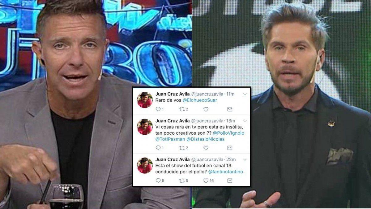Juan Cruz Avila, productor de Fantino, acusa de copia al Pollo Vignolo y a El Trece