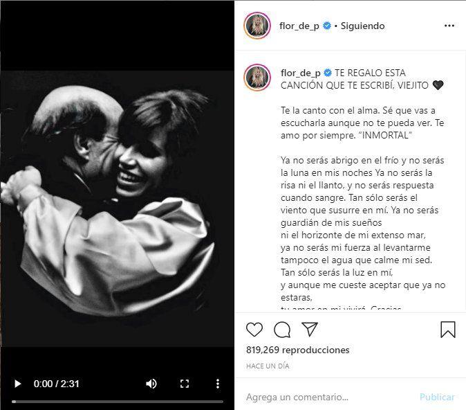 Flor Peña compartió la canción a través de un video de Instagram