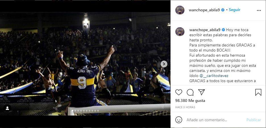 Wanchope Ábila uso también su Instagram para despedirse de los fanáticos de Boca