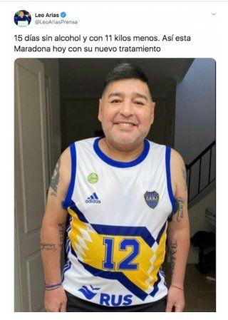 El periodista Leo Arias posteó una foto donde se ve al Diego con 15 kilos menos