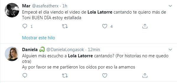 Tuit sobre Lola Latorre
