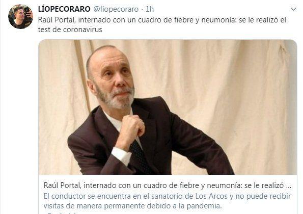 tuit de Lio Pecoraro sobre Raúl Portal