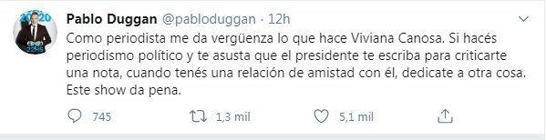Pablo Duggan opinó en Twitter