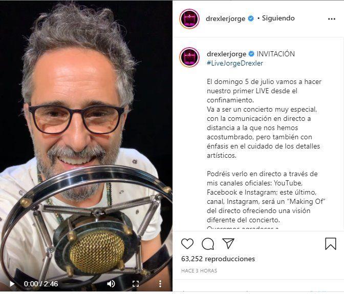 El cantante anunció su concierto a través de instagram