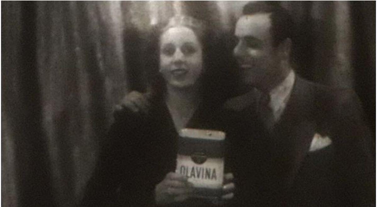 Eva Perón junto a Claudio Martino en el debut de la actriz en el cine
