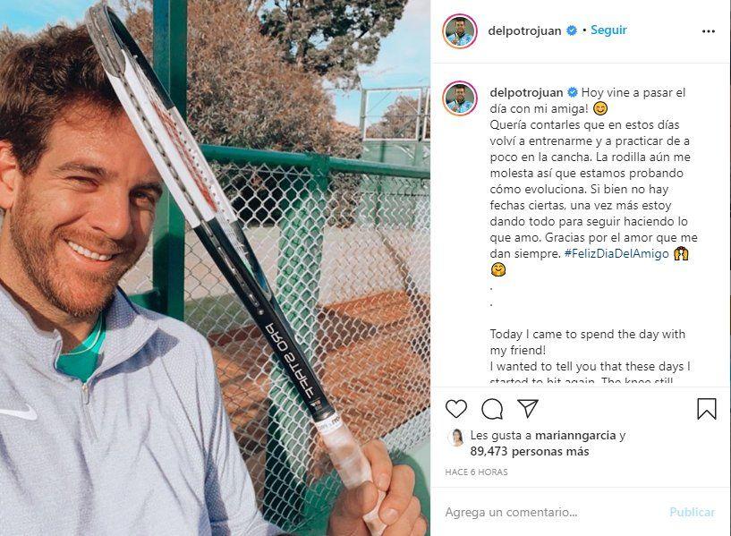 Juan Martín del Potro usó sus redes sociales para anunciar su vuelta al tenis