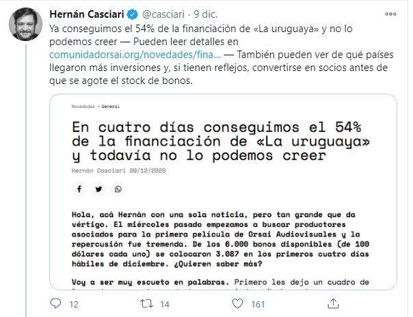 Hernán Casciari anunció que ya recuado más de la mitad del financiamiento de La Uruguaya