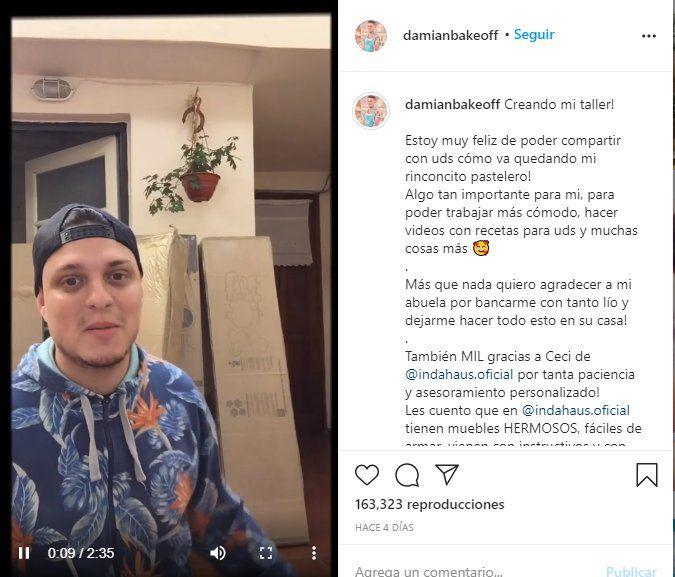 Damián compartió en su Instagram cómo está quedando su nuevo espacio para cocina