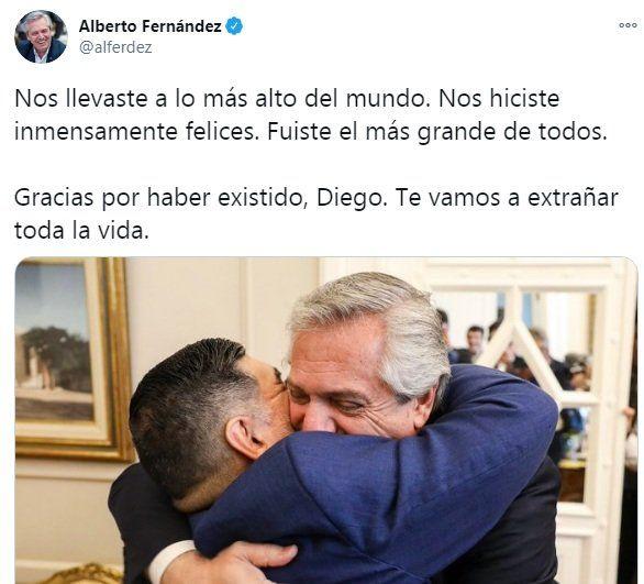 El mensaje de Alberto Fernández tras la muerte de Diego Maradona