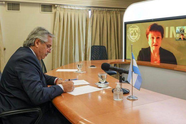 La Directora Gerente del FMI Kristalina Georgieva conversó vía zoom con el presidente Alberto Fernández