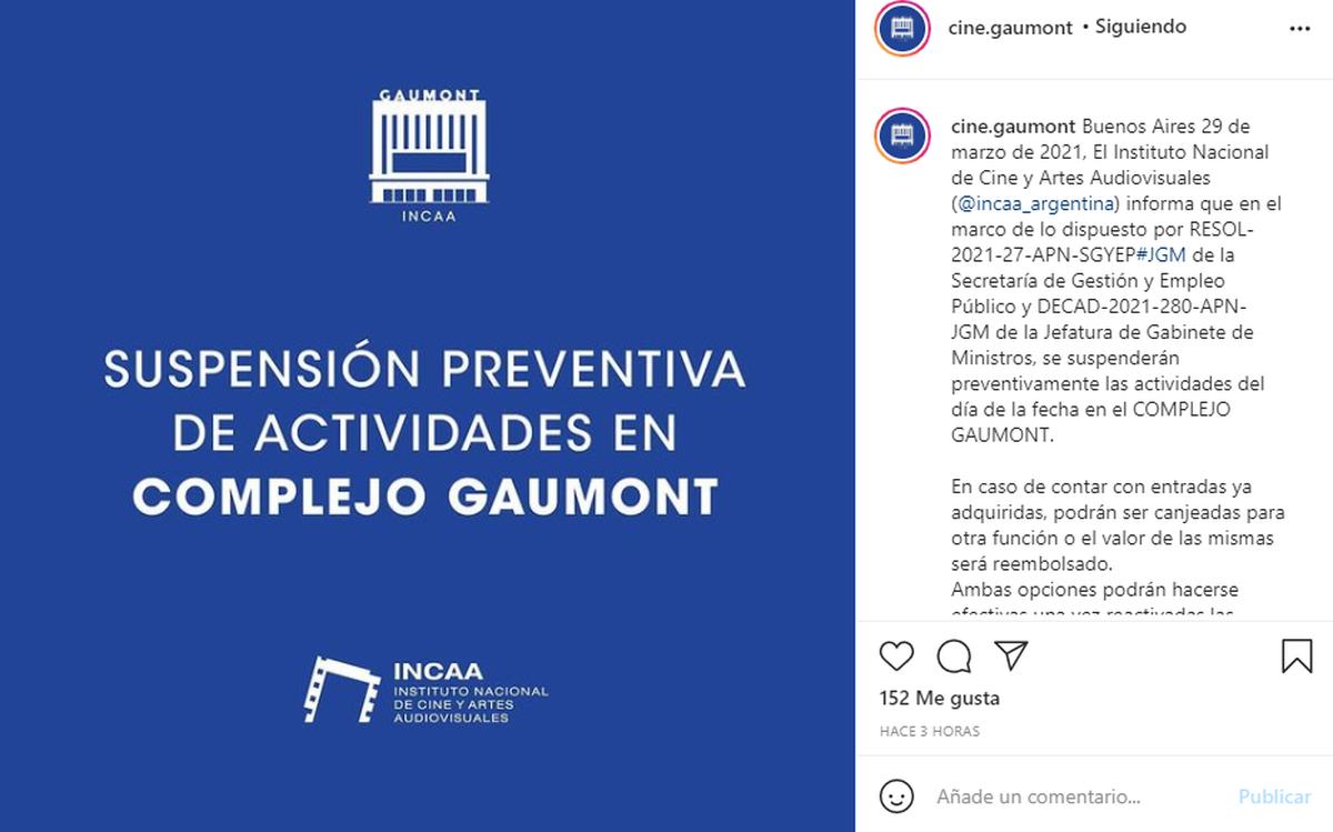 A través de las redes sociales del Cine Gaumont se anunció la suspensión de la sala