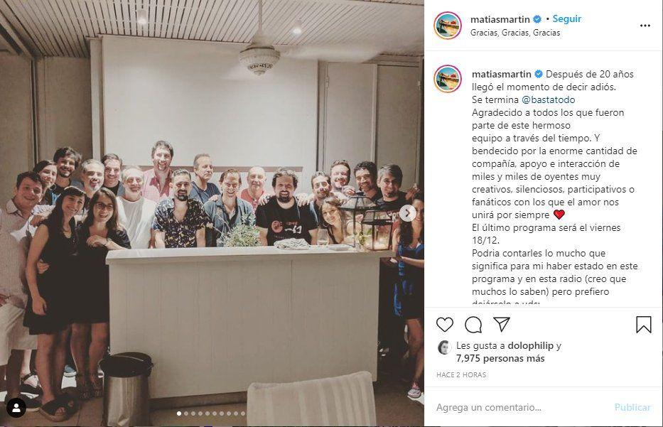 Matías Martin agradeció a través de sus redes sociales la sintonía de Basta de Todo