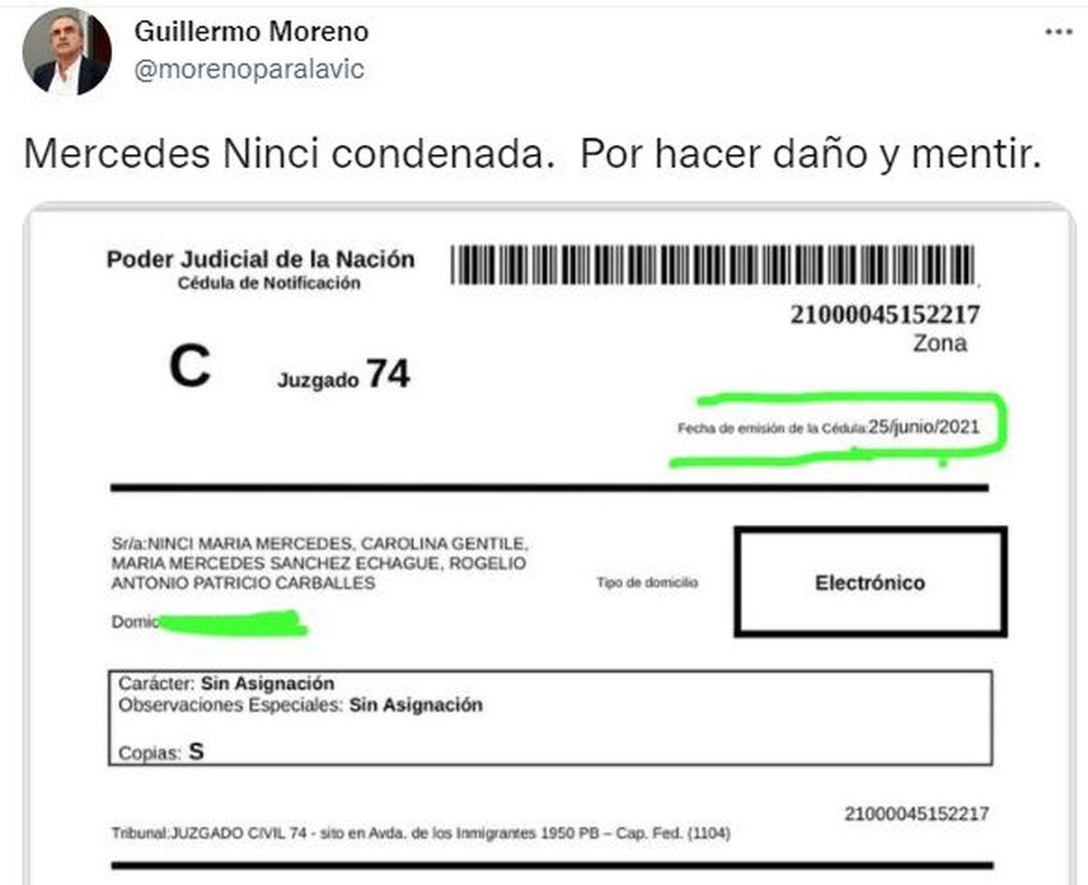 Este es el tuit que escribió Guillermo Moreno para celebrar la sentencia contra la periodista Mercedes Ninci