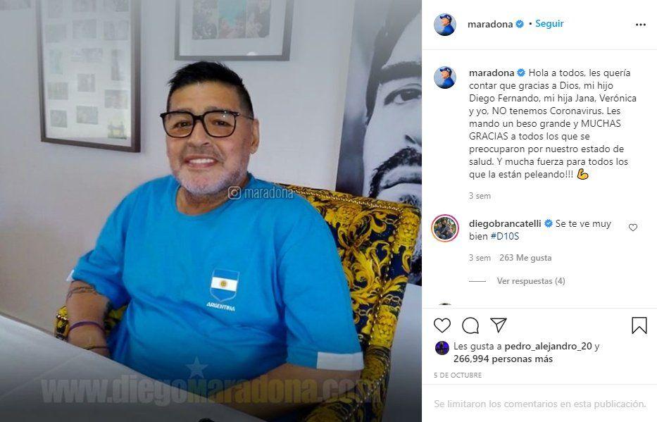 Hace unas semanas Diego Maradona anunció que tras somenterse a un hisopado