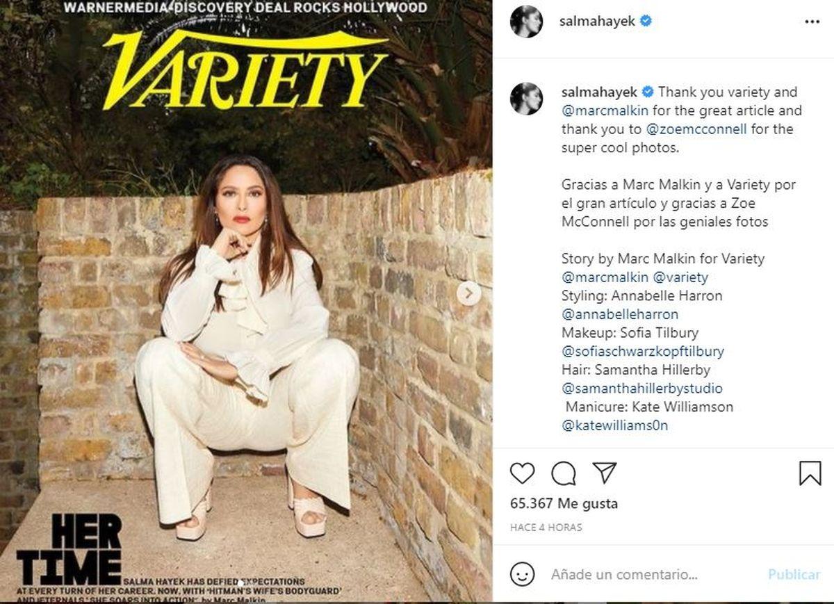Salma Hayek le contó a Variety cómo transitó el Covid el año pasado