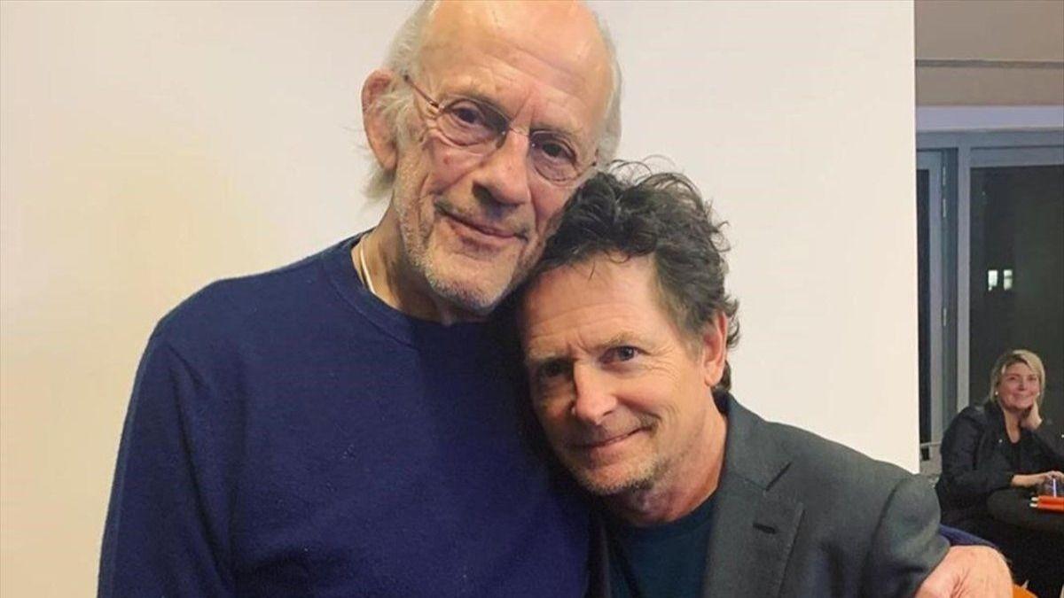 El Actor Michael Fox junto a su compañero Cristopher Lloyd