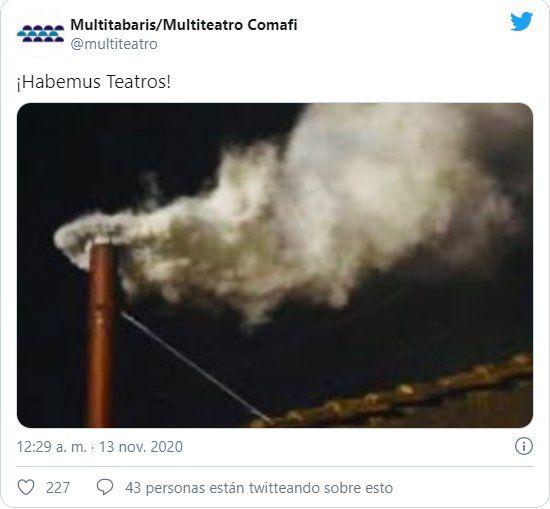 A través de su cuenta en Twitter Multiteatro Comafi anunció la vuelta de los teatros a la ciudad de Buenos Aires