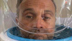 Sergio Lapegüe usó un helmet, el casco que lo ayuda a respirar