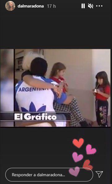 Dalma publicó en sus stories el video junto a su padre Diego Maradona