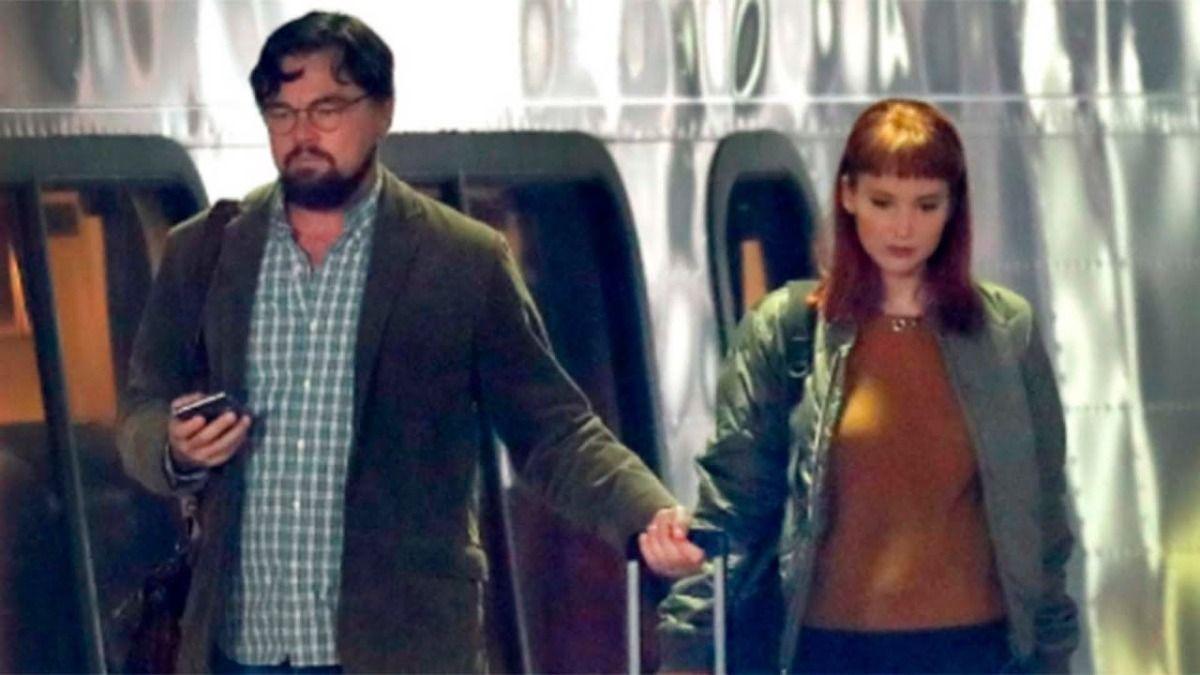 Leonardo DiCaprio y Jennifer Lawrence durante el rodaje de Don´t Look Up