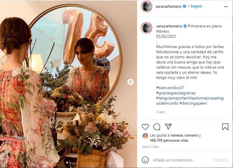 A través de su Instagram la periodista Sara Carbonero agradeció las muestras de cariño por su cumpleaños