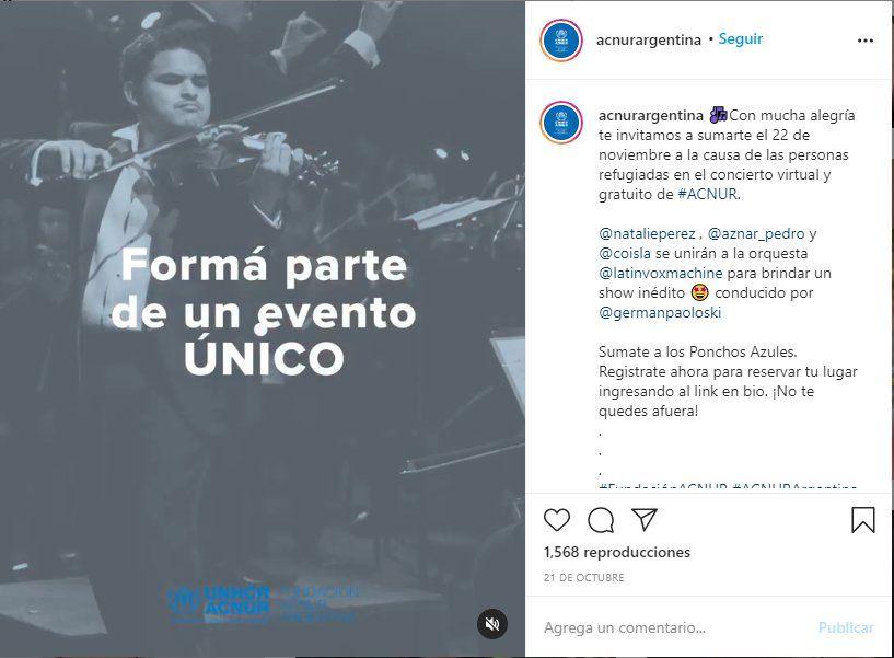 Desde las redes sociales de Acnur se invita al concierto donde participará Pedro Aznar