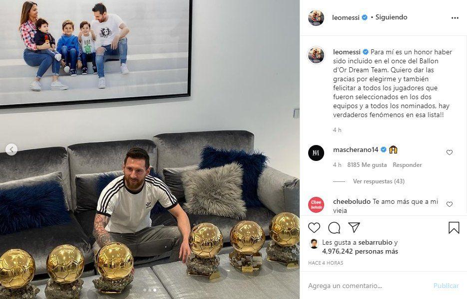 Lionel Messi agradeció a la revista France Footbal por ser incluido junto a Diego Maradona en el Dream Team