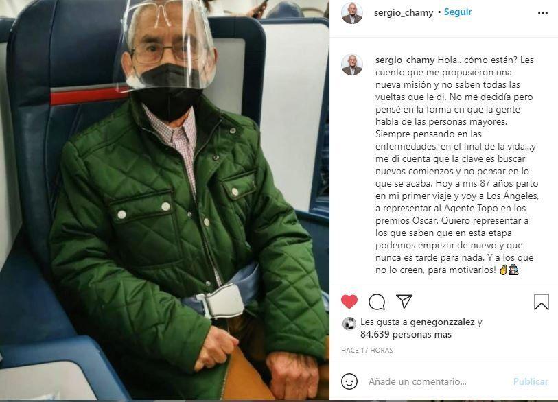 Esta es la foto que el actor Sergio Chamy protagonista del documental El Agente Topo compartió en su Instagram