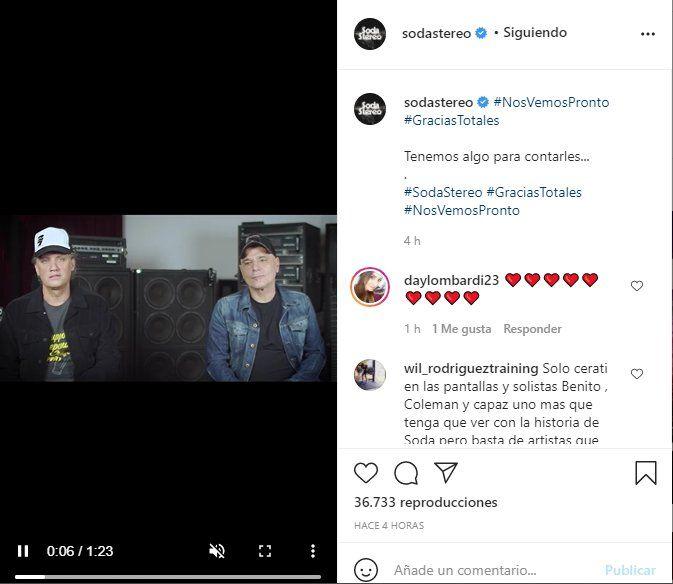 A través de la cuenta en Instagram de Soda Stereo se anunció el regreso de Gracias Totales