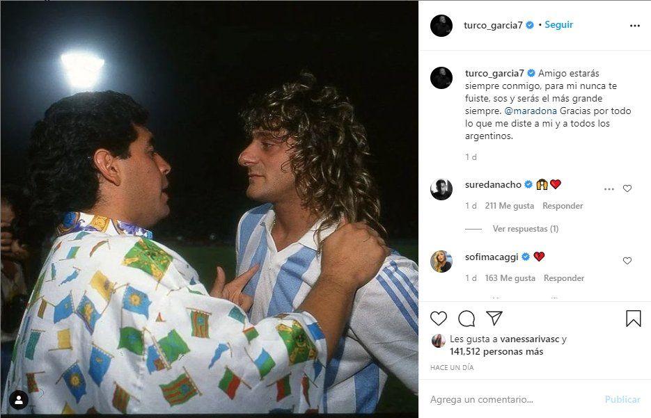 El Turco García se despidió de su amigo Diego Maradona a través de un posteo en Instagram