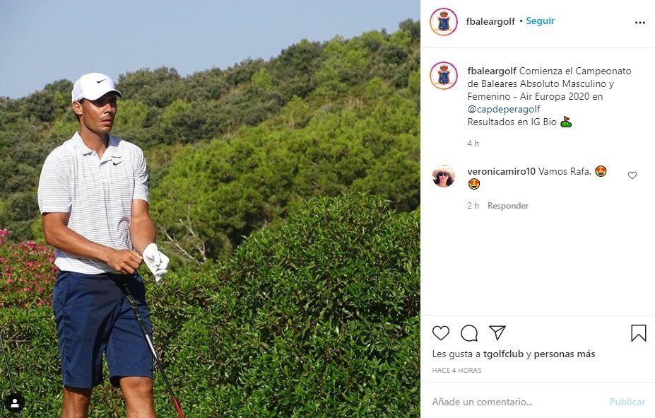 ¡Relajado! Rafa Nadal se distrae jugando al golf