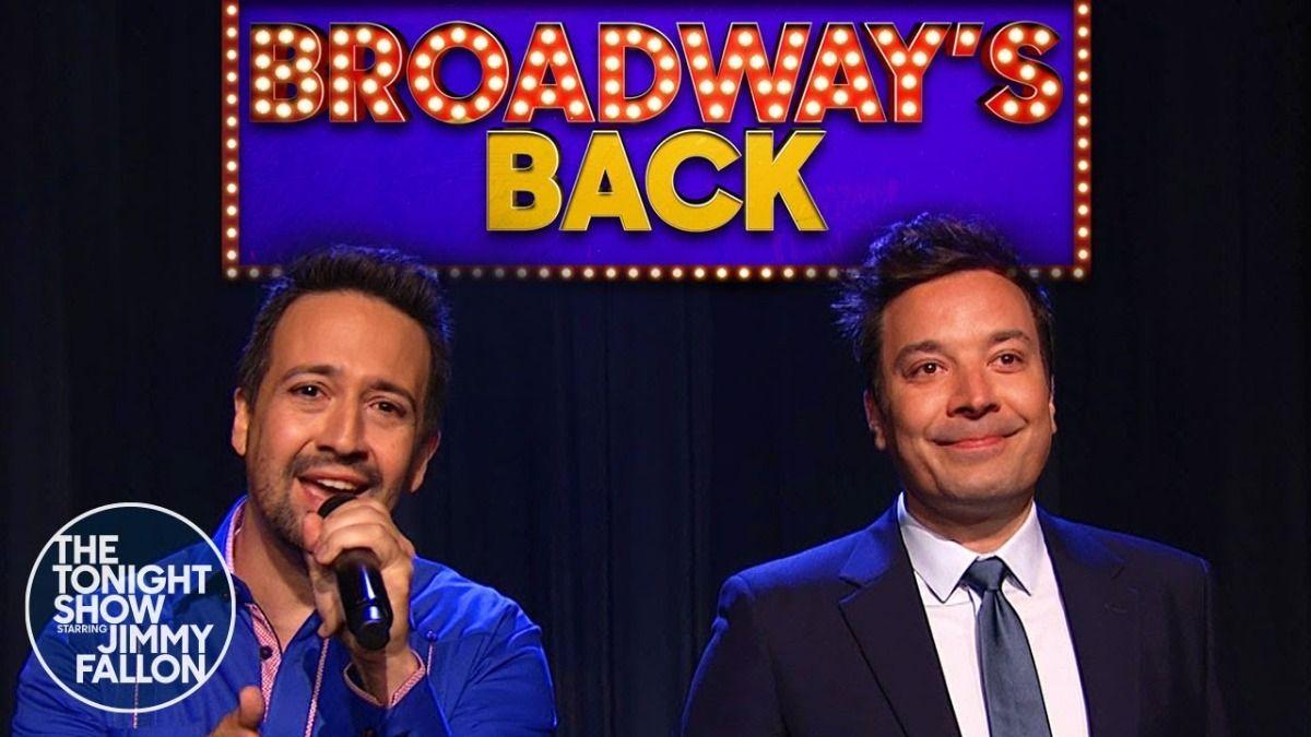 Jimmy Fallon y Lin-Manuel Miranda festejaron el regreso de Broadway