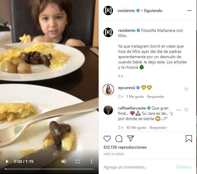 El video que compartió René donde expresa su tristeza por no poder ver a Milo fue borrado por Instagram