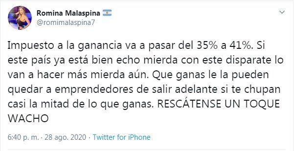 Romina Malaspina fue tendencia en Twitter
