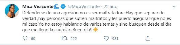 Mica Viciconte se descargó en Twitter