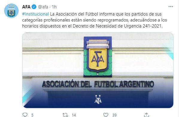 Desde la Asociación del Futbol Argentina se comunicó que los horarios de la Copa de la Liga serían modificados