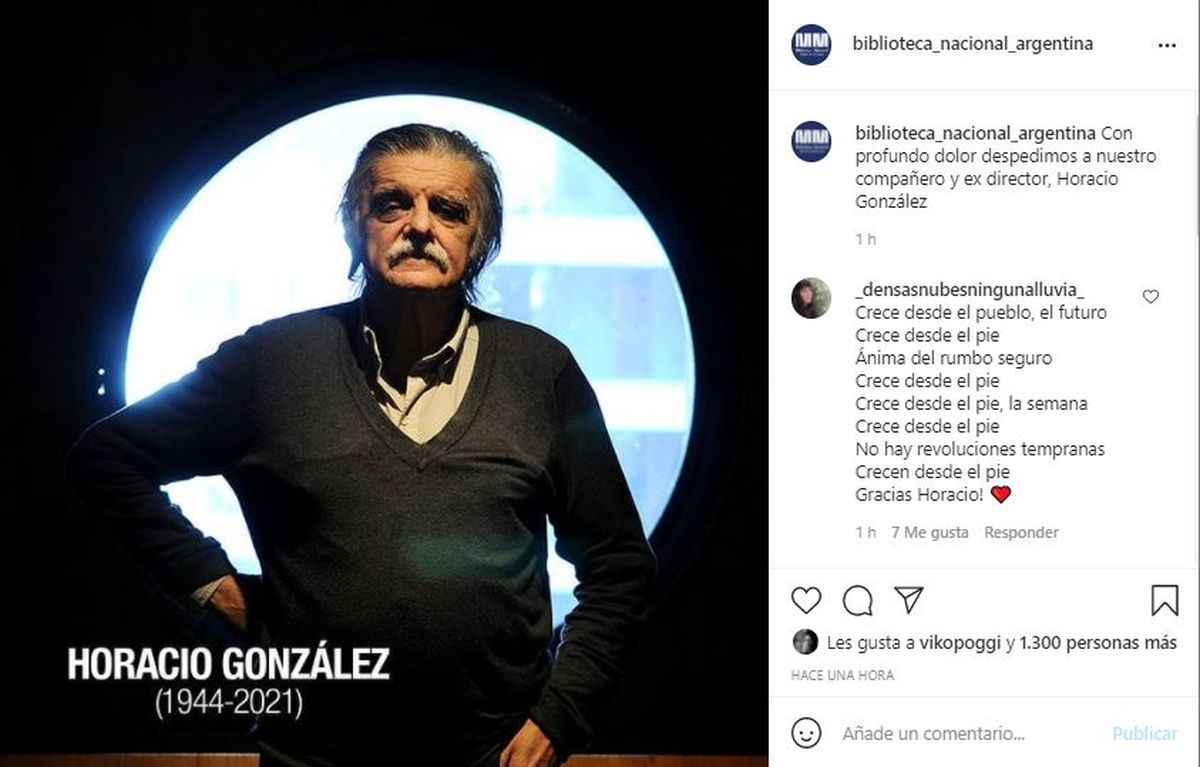 Desde la cuenta de Instagram de la Biblioteca Nacional se informó del fallecimiento de Horacio González