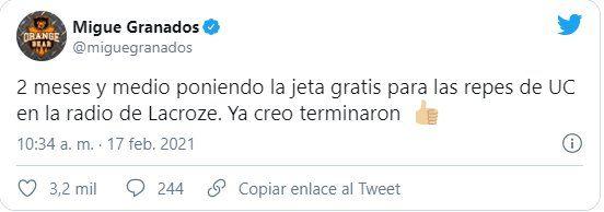 Este es el tuit que escribió Migue Granados pidiendo que Vorterix no siga transmitiendo Últimos Cartuchos