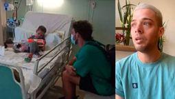 Esta foto fue tomada cuando el influencer Santiago Maratea conoció a Fede en un hospital de España